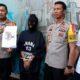 Tersangka Sugeng dirilis di Polres Malang Kota. (gie)