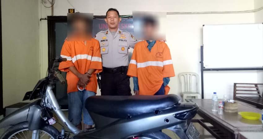 Tersangka RAS dan TS saat dirilis Kapolsekta Sukun Kompol Anang Tri Hananta. (ist)