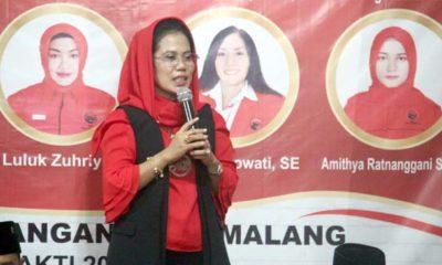 Sekretaris DPD PDI Perjuangan Jawa Timur, Sri Untari saat ditemui di Kantor DPC PDIP Kota Malang beberapa waktu lalu. (kik)