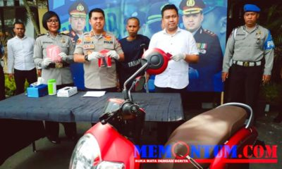 Tersangka Suntra saat dirilis petugas kepolisian Polres Malang Kota. (gie)