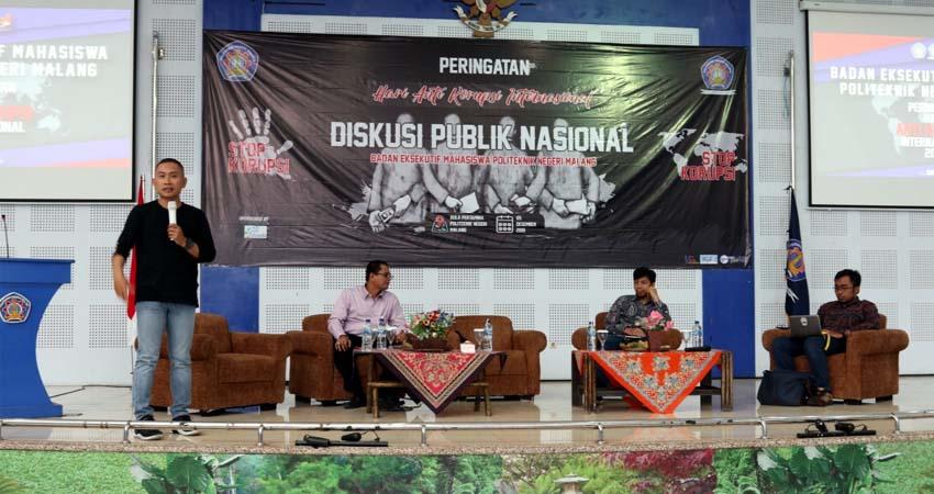 HARI ANTI KORUPSI : Diskusi nasional dalam memperingati hari anti korupsi internasional di Polinema. (ist)
