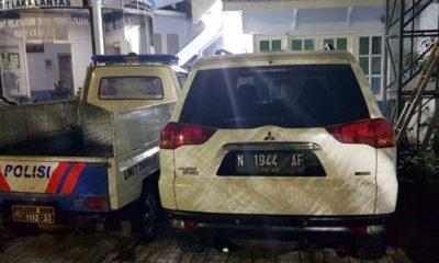 Mobil Pajero maut masih diamankan di unit Laka Lantas Polresta Malang Kota. (gie)