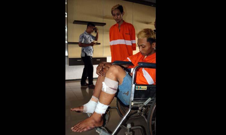 DOR : Tersangka Bima di kursi roda saat dirilis di Polresta Malang Kota. (ist)