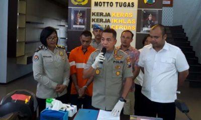 Kapolresta Malang Kota Kombes Pol Leonardus saat merilis tersangka Ibrahim. (gie)