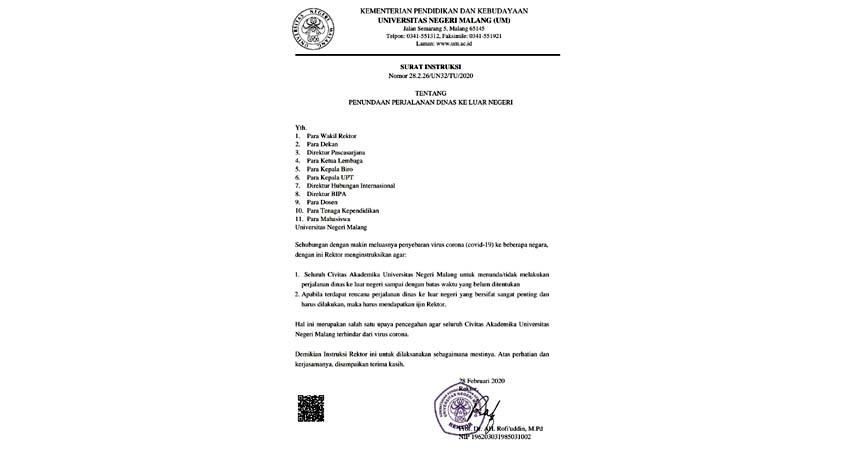 Surat Instruksi Rektor UM. (Adn)