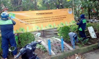 Taman Kota Malang di-Non Aktifkan dan Disemprot Disinfectan