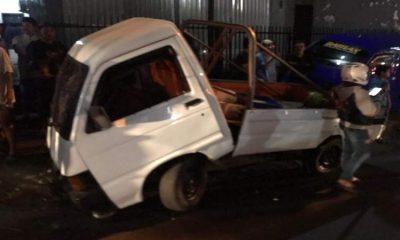 Mobil Pickup usai kecelakaan. (ist)