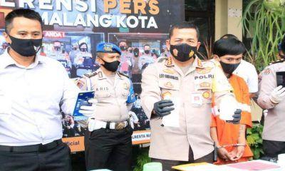 Tersangka Didik Fredianto saat dirilis di Polresta Malang Kota. (ist)