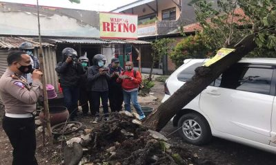 Mobil milik Retno tertimpa pohon. (ist)